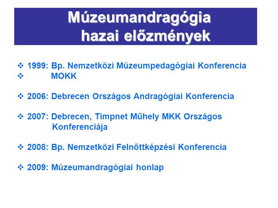 Múzeumandragógia hazai előzmények  1999: Bp. Nemzetközi Múzeumpedagógiai Konferencia  MOKK  2006: Debrecen Országos Andragógiai Konferencia  2007: