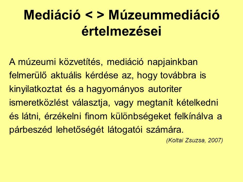 Mediáció Múzeummediáció értelmezései A múzeumi közvetítés, mediáció napjainkban felmerülő aktuális kérdése az, hogy továbbra is kinyilatkoztat és a ha