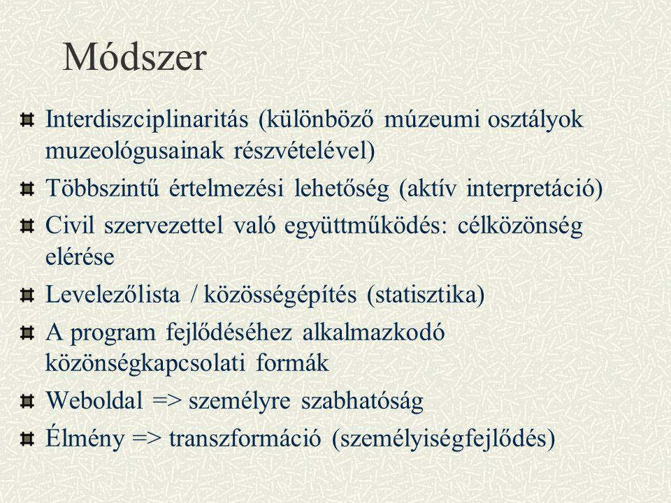 Módszer Interdiszciplinaritás (különböző múzeumi osztályok muzeológusainak részvételével) Többszintű értelmezési lehetőség (aktív interpretáció) Civil