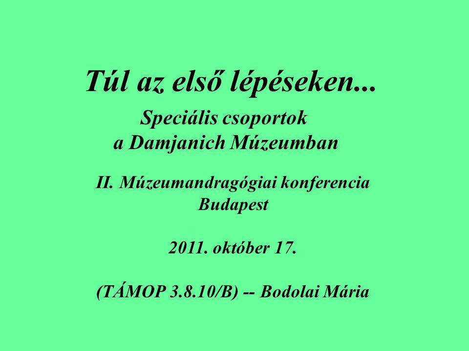 Túl az első lépéseken... II. Múzeumandragógiai konferencia Budapest 2011. október 17. (TÁMOP 3.8.10/B) -- Bodolai Mária Speciális csoportok a Damjanic