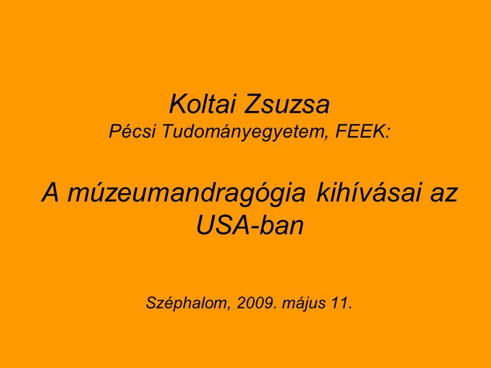 Koltai Zsuzsa Pécsi Tudományegyetem, FEEK: A múzeumandragógia kihívásai az USA-ban Széphalom, 2009.