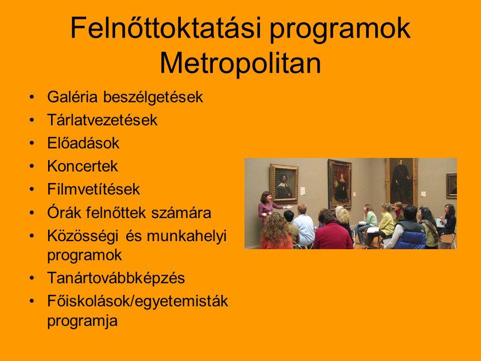 Felnőttoktatási programok Metropolitan Galéria beszélgetések Tárlatvezetések Előadások Koncertek Filmvetítések Órák felnőttek számára Közösségi és munkahelyi programok Tanártovábbképzés Főiskolások/egyetemisták programja