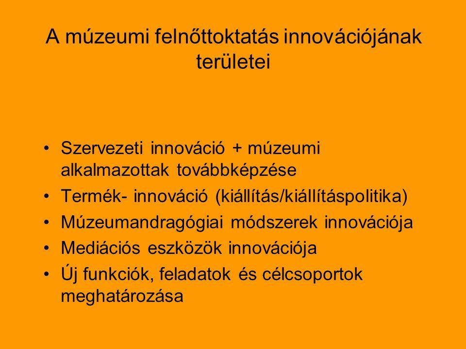 A múzeumi felnőttoktatás innovációjának területei Szervezeti innováció + múzeumi alkalmazottak továbbképzése Termék- innováció (kiállítás/kiállításpolitika) Múzeumandragógiai módszerek innovációja Mediációs eszközök innovációja Új funkciók, feladatok és célcsoportok meghatározása
