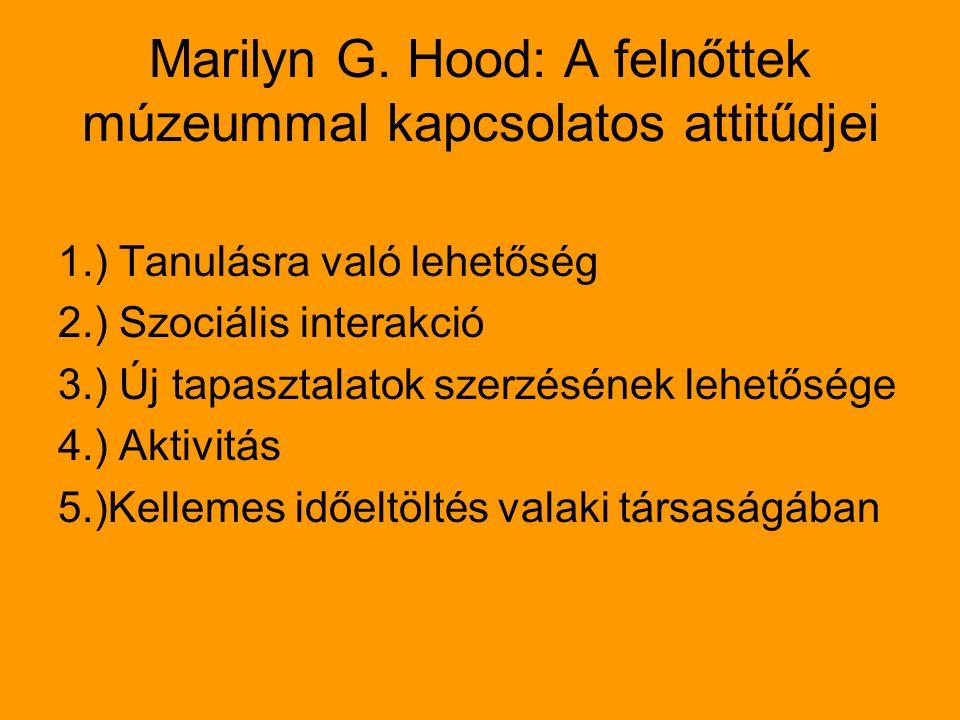 Marilyn G. Hood: A felnőttek múzeummal kapcsolatos attitűdjei 1.) Tanulásra való lehetőség 2.) Szociális interakció 3.) Új tapasztalatok szerzésének l
