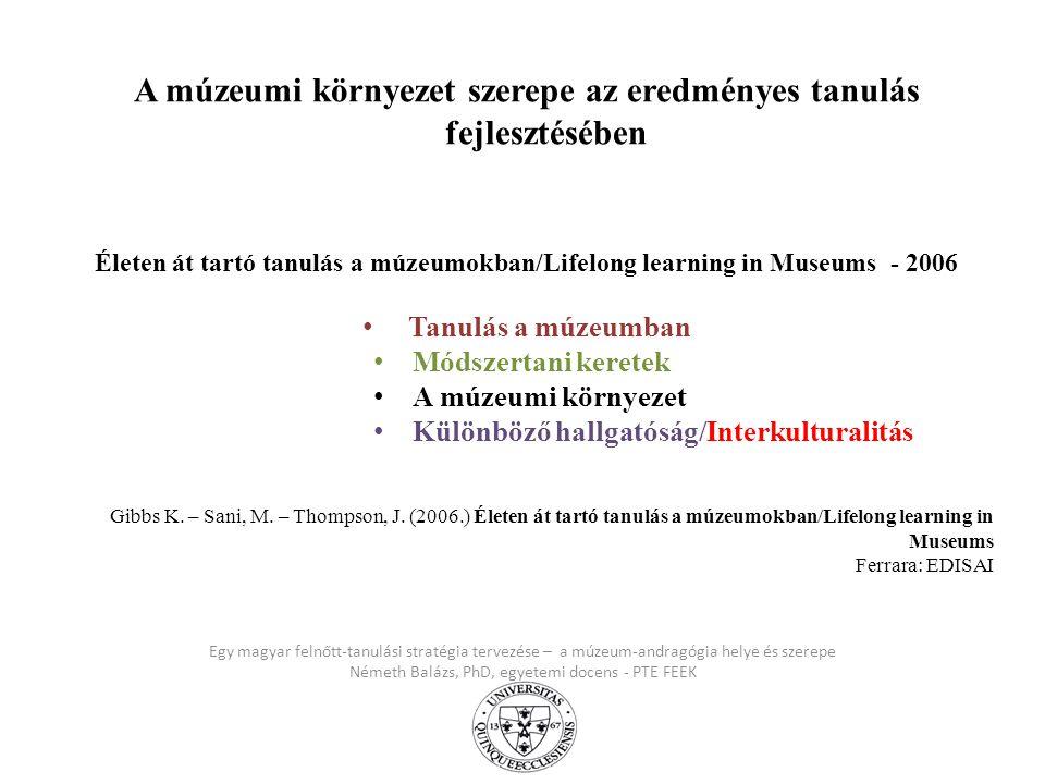 Egy magyar felnőtt-tanulási stratégia tervezése – a múzeum-andragógia helye és szerepe Németh Balázs, PhD, egyetemi docens - PTE FEEK A múzeumi környe