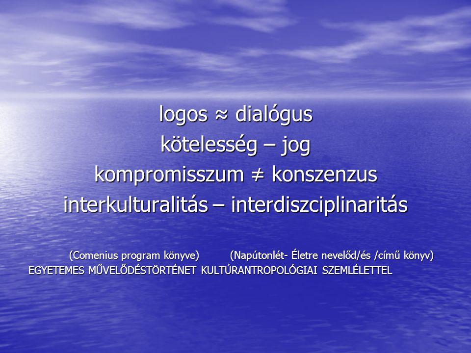 logos ≈ dialógus kötelesség – jog kompromisszum ≠ konszenzus interkulturalitás – interdiszciplinaritás (Comenius program könyve) (Napútonlét- Életre nevelőd/és /című könyv) (Comenius program könyve) (Napútonlét- Életre nevelőd/és /című könyv) EGYETEMES MŰVELŐDÉSTÖRTÉNET KULTÚRANTROPOLÓGIAI SZEMLÉLETTEL