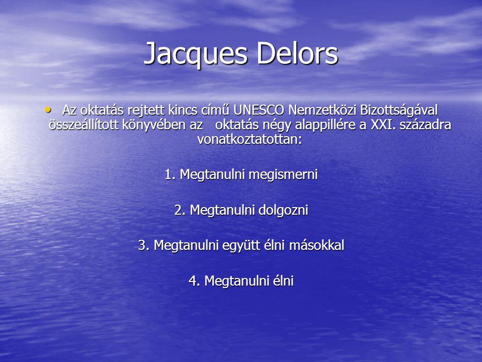 Jacques Delors Az oktatás rejtett kincs című UNESCO Nemzetközi Bizottságával összeállított könyvében az oktatás négy alappillére a XXI.