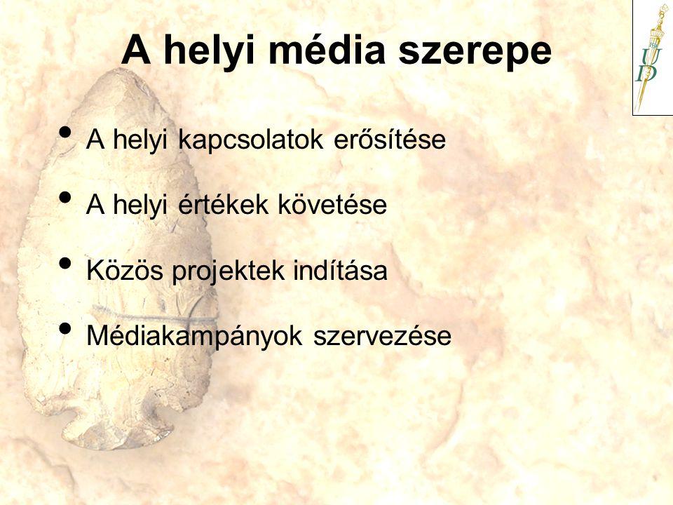 A helyi média szerepe A helyi kapcsolatok erősítése A helyi értékek követése Közös projektek indítása Médiakampányok szervezése