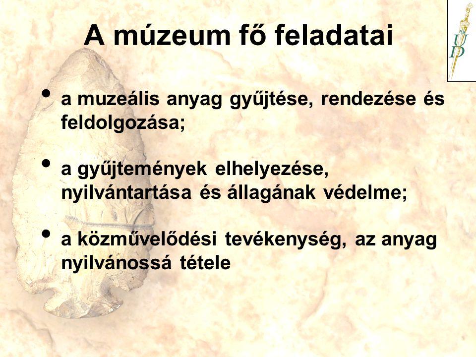 A múzeum fő feladatai a muzeális anyag gyűjtése, rendezése és feldolgozása; a gyűjtemények elhelyezése, nyilvántartása és állagának védelme; a közműve