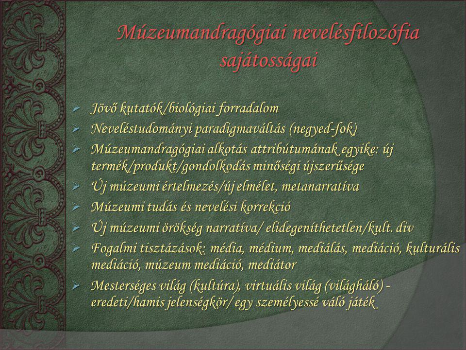 Múzeumandragógiai nevelésfilozófia sajátosságai  Jövő kutatók/biológiai forradalom  Neveléstudományi paradigmaváltás (negyed-fok)  Múzeumandragógia