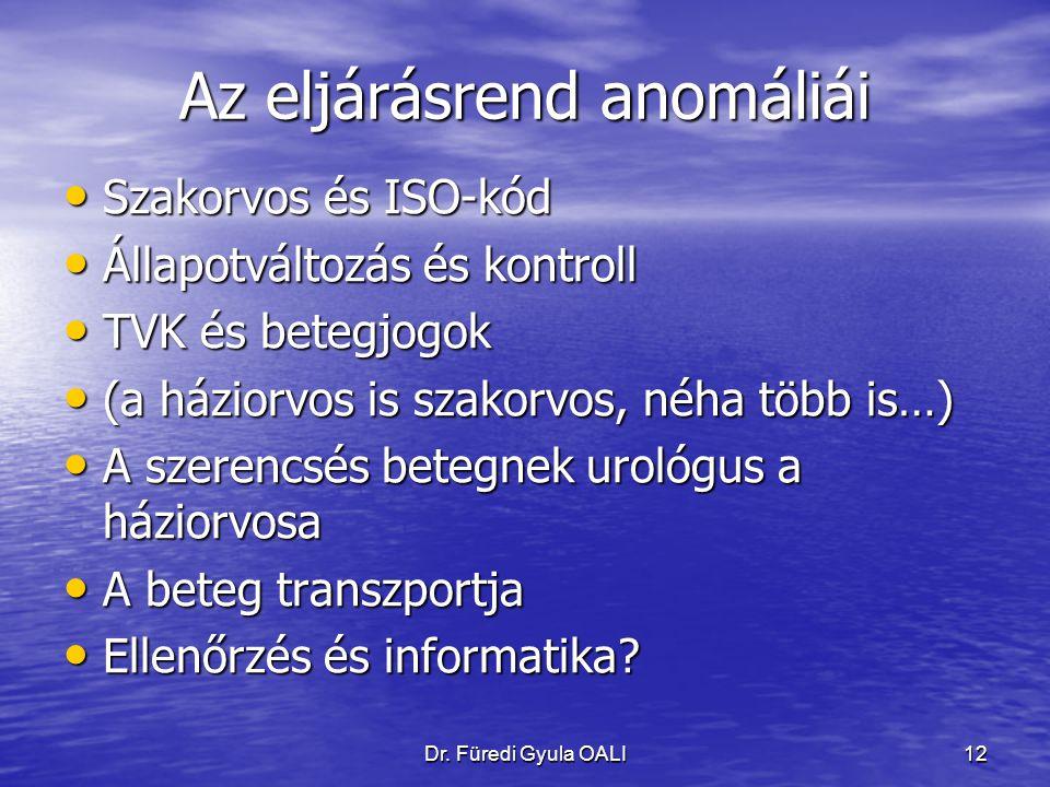 Dr. Füredi Gyula OALI12 Az eljárásrend anomáliái Szakorvos és ISO-kód Szakorvos és ISO-kód Állapotváltozás és kontroll Állapotváltozás és kontroll TVK