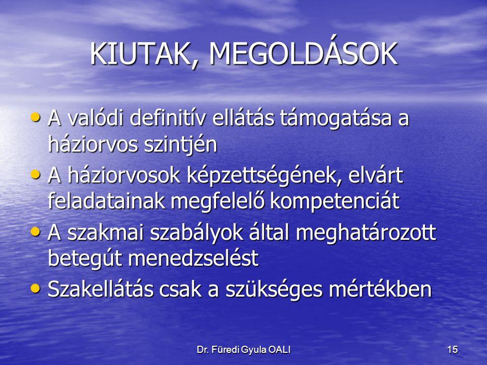 Dr. Füredi Gyula OALI15 KIUTAK, MEGOLDÁSOK A valódi definitív ellátás támogatása a háziorvos szintjén A valódi definitív ellátás támogatása a háziorvo