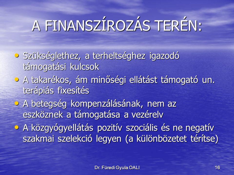 Dr. Füredi Gyula OALI16 A FINANSZÍROZÁS TERÉN: Szükséglethez, a terheltséghez igazodó támogatási kulcsok Szükséglethez, a terheltséghez igazodó támoga