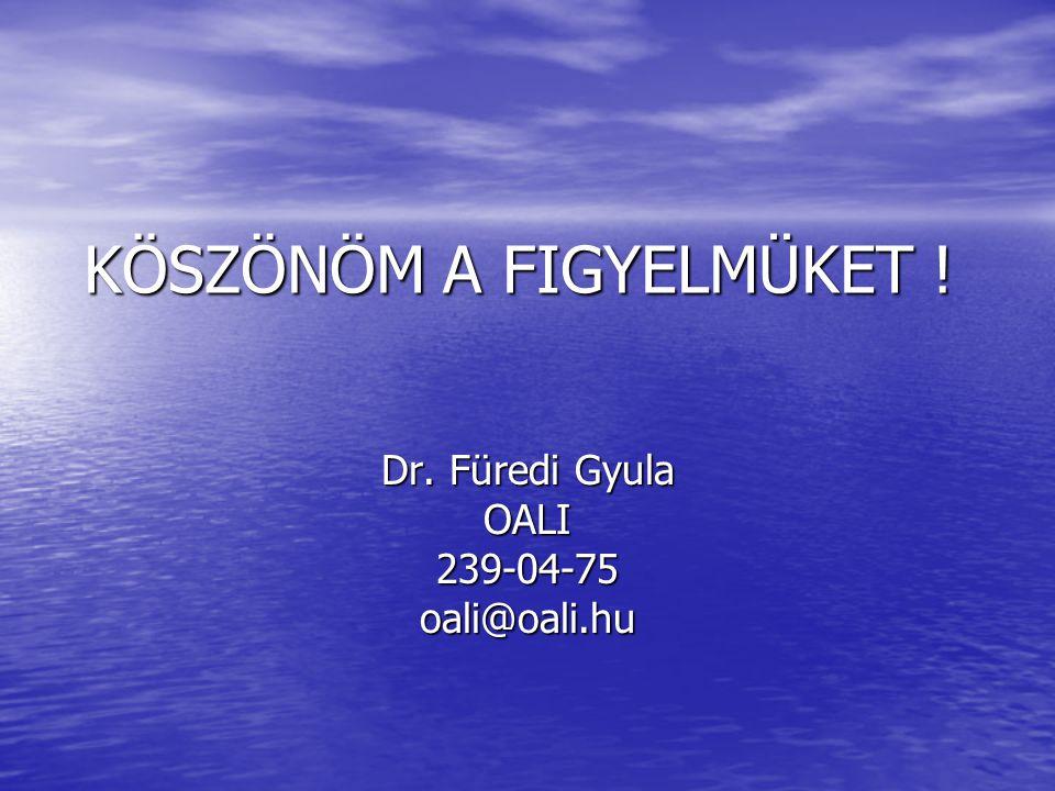 KÖSZÖNÖM A FIGYELMÜKET ! Dr. Füredi Gyula OALI239-04-75oali@oali.hu