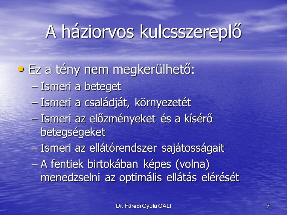 Dr. Füredi Gyula OALI7 A háziorvos kulcsszereplő Ez a tény nem megkerülhető: Ez a tény nem megkerülhető: –Ismeri a beteget –Ismeri a családját, környe