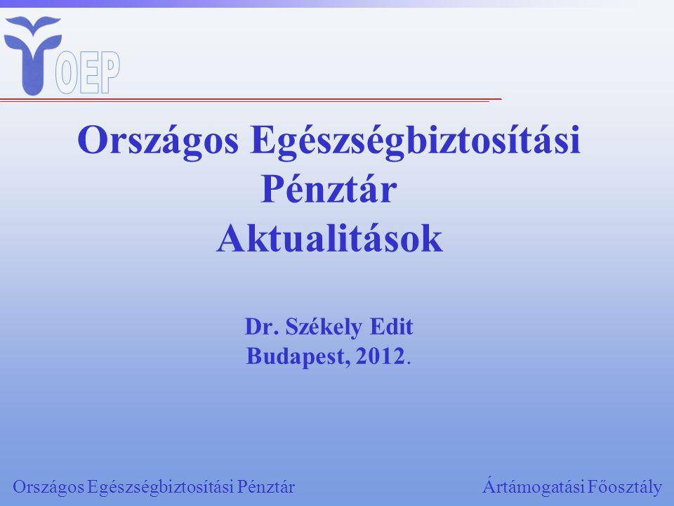 Országos Egészségbiztosítási Pénztár Aktualitások Dr. Székely Edit Budapest, 2012. Országos Egészségbiztosítási PénztárÁrtámogatási Főosztály