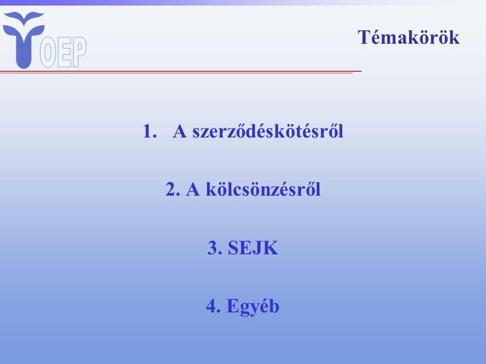 Témakörök 1.A szerződéskötésről 2. A kölcsönzésről 3. SEJK 4. Egyéb