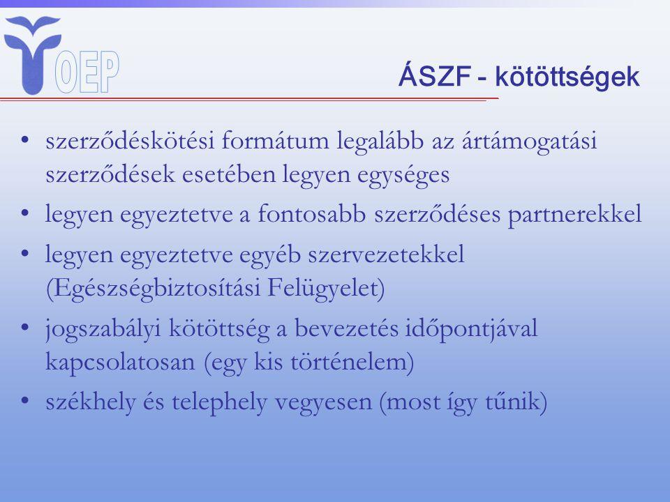 ÁSZF - kötöttségek szerződéskötési formátum legalább az ártámogatási szerződések esetében legyen egységes legyen egyeztetve a fontosabb szerződéses pa