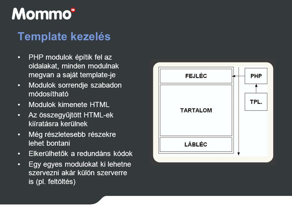 Template kezelés PHP modulok építik fel az oldalakat, minden modulnak megvan a saját template-je Modulok sorrendje szabadon módosítható Modulok kimene