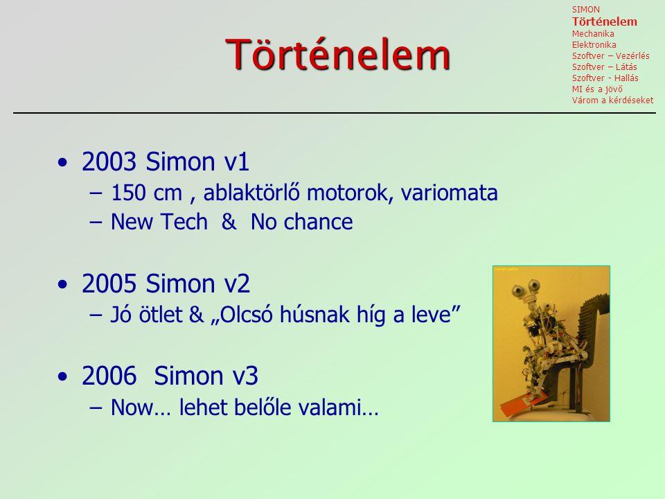 """Történelem 2003 Simon v1 –150 cm, ablaktörlő motorok, variomata –New Tech & No chance 2005 Simon v2 –Jó ötlet & """"Olcsó húsnak híg a leve 2006 Simon v3 –Now… lehet belőle valami… SIMON Történelem Mechanika Elektronika Szoftver – Vezérlés Szoftver – Látás Szoftver - Hallás MI és a jövő Várom a kérdéseket"""
