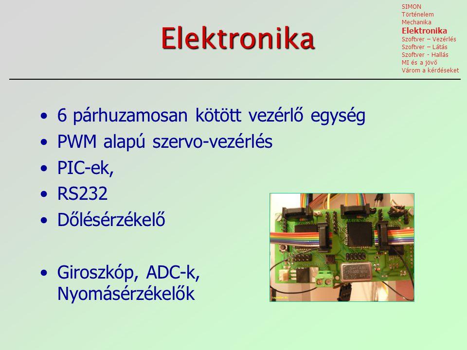 Elektronika 6 párhuzamosan kötött vezérlő egység PWM alapú szervo-vezérlés PIC-ek, RS232 Dőlésérzékelő Giroszkóp, ADC-k, Nyomásérzékelők SIMON Történelem Mechanika Elektronika Szoftver – Vezérlés Szoftver – Látás Szoftver - Hallás MI és a jövő Várom a kérdéseket