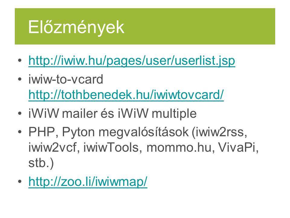 Előzmények http://iwiw.hu/pages/user/userlist.jsp iwiw-to-vcard http://tothbenedek.hu/iwiwtovcard/ http://tothbenedek.hu/iwiwtovcard/ iWiW mailer és i