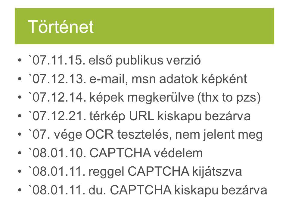Történet `07.11.15. első publikus verzió `07.12.13. e-mail, msn adatok képként `07.12.14. képek megkerülve (thx to pzs) `07.12.21. térkép URL kiskapu
