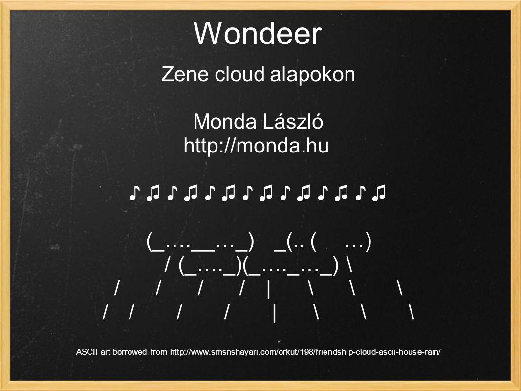 Wondeer Zene cloud alapokon Monda László http://monda.hu ♪ ♫ ♪ ♫ ♪ ♫ ♪ ♫ ♪ ♫ ♪ ♫ ♪ ♫ (_….__…_) _(..