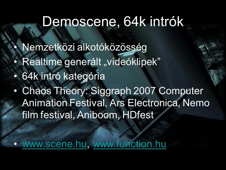 """Demoscene, 64k intrók Nemzetközi alkotóközösség Realtime generált """"videóklipek"""" 64k intró kategória Chaos Theory: Siggraph 2007 Computer Animation Fes"""