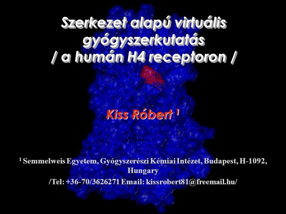 G-protein kapcsolt receptorok 1 Palczewski K, Kumasaka T, Hori T, Behnke CA, Motoshima H, Fox BA, Le Trong I, Teller DC, Okada T, Stenkamp RE, Yamamoto M, Miyano M (2000) Science 289(5480):739-45 Transzmembrán receptorok Nagyfokú homológia a transzmembrán domain-ben Specifikus motívumok A mai gyógyszerek kb.