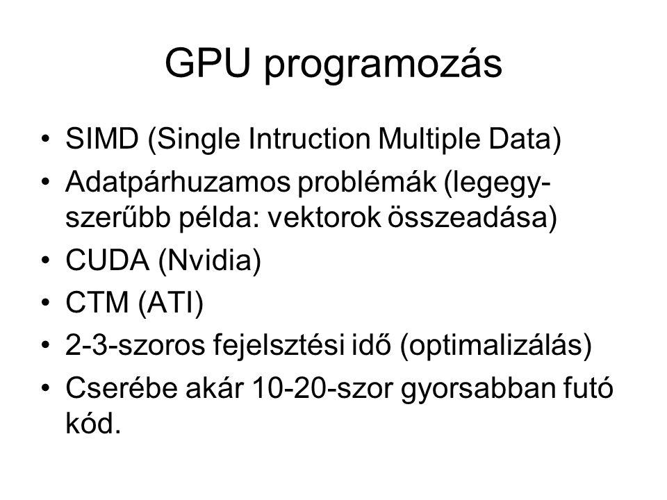 GPU programozás SIMD (Single Intruction Multiple Data) Adatpárhuzamos problémák (legegy- szerűbb példa: vektorok összeadása) CUDA (Nvidia) CTM (ATI) 2