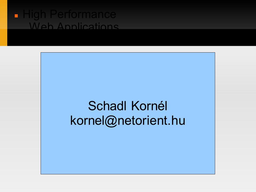 High Performance Web Applications in C/C++ Schadl Kornél kornel@netorient.hu