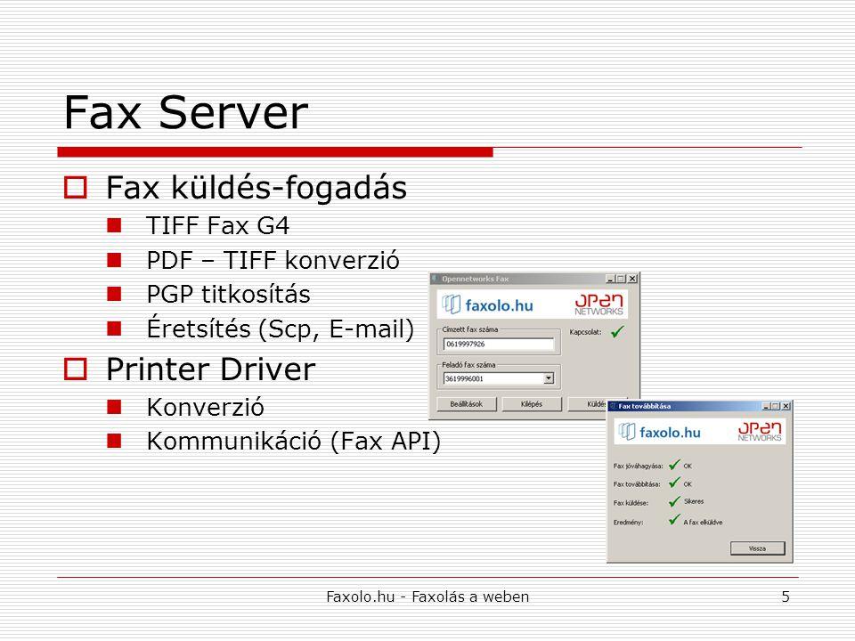 Faxolo.hu - Faxolás a weben5 Fax Server  Fax küldés-fogadás TIFF Fax G4 PDF – TIFF konverzió PGP titkosítás Éretsítés (Scp, E-mail)  Printer Driver