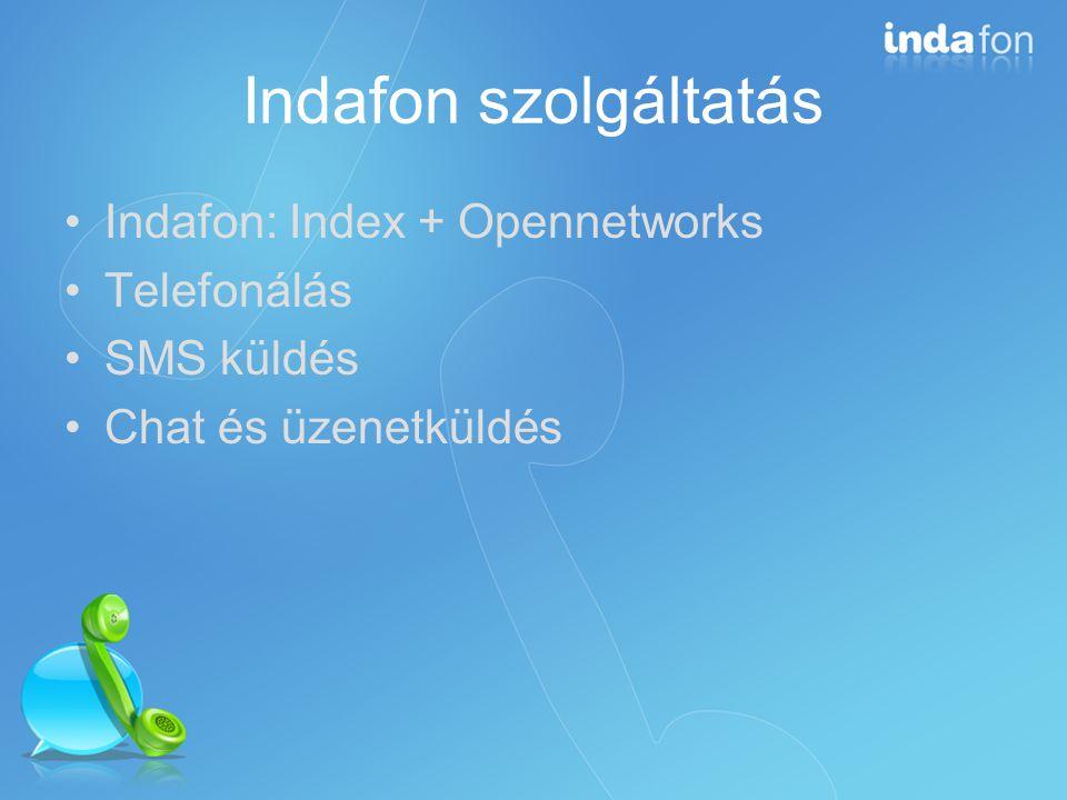 Indafon 1.0 technológiája Full flash-es felület Saját, zárt protokoll (chat és üzenetküldés) ActiveX alapú SIP-es telefonálás
