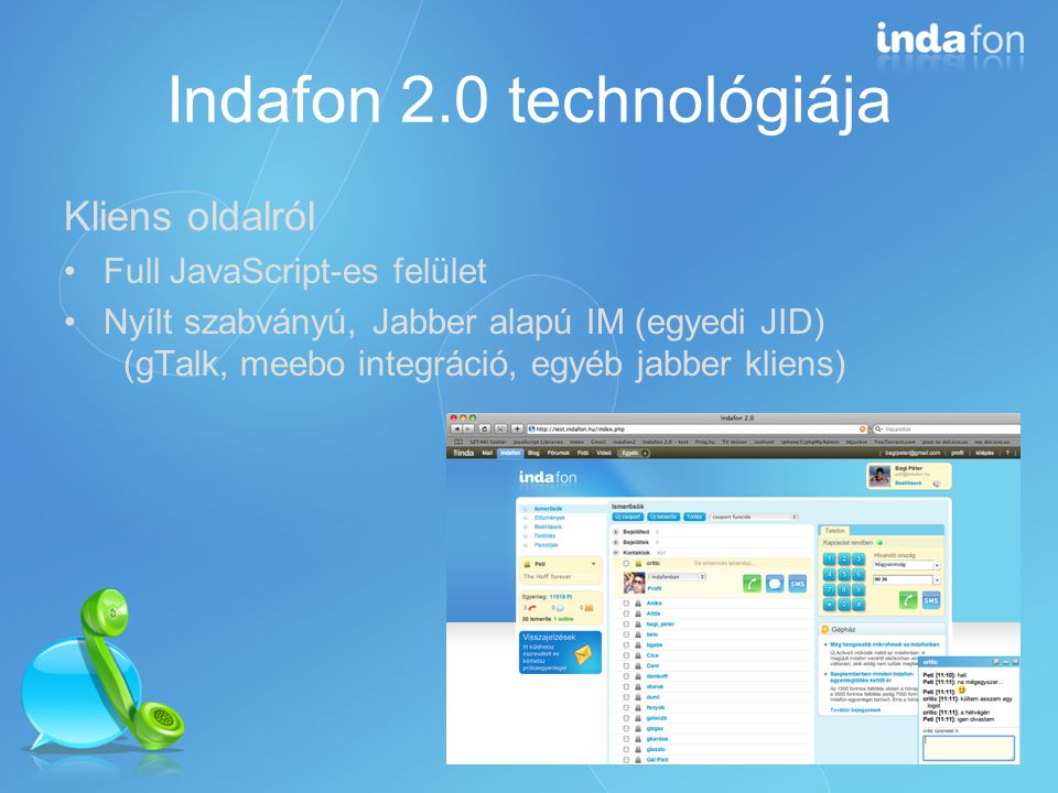 Indafon 2.0 technológiája Telefonálás: Adobe Flash (oprendszer és böngészőfüggetlenség) Ha lehet, marad az ActiveX (saját AGC, AEC)
