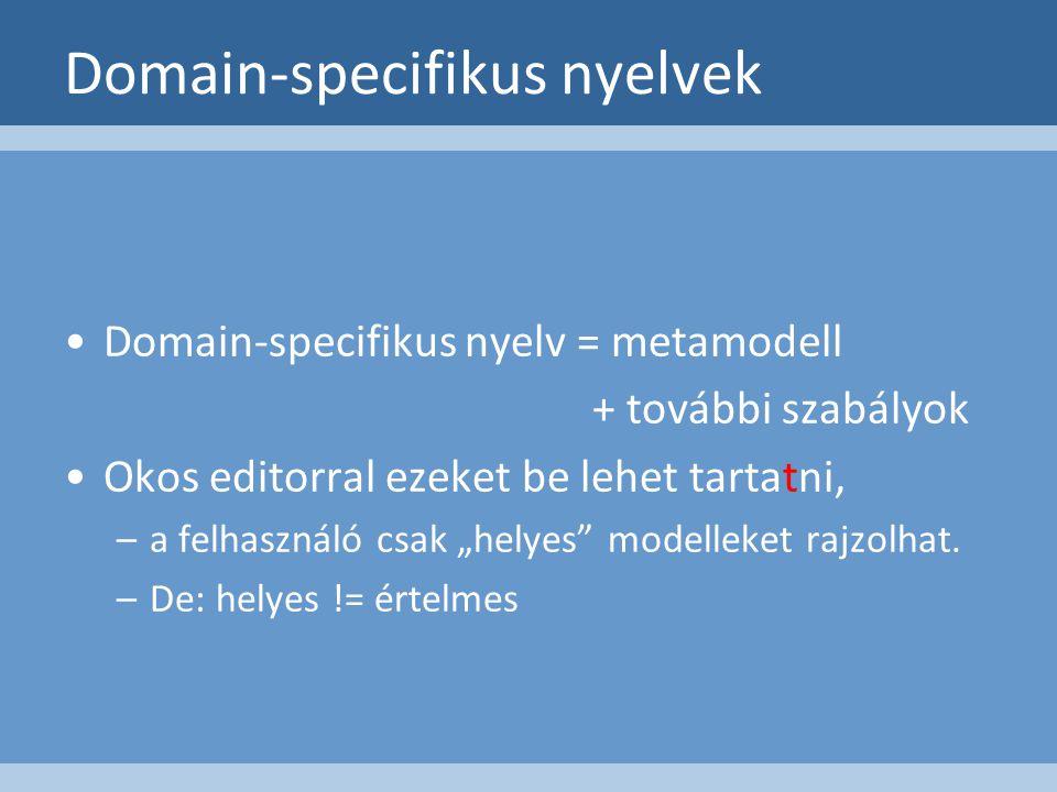 """Domain-specifikus nyelv = metamodell + további szabályok Okos editorral ezeket be lehet tartatni, –a felhasználó csak """"helyes modelleket rajzolhat."""