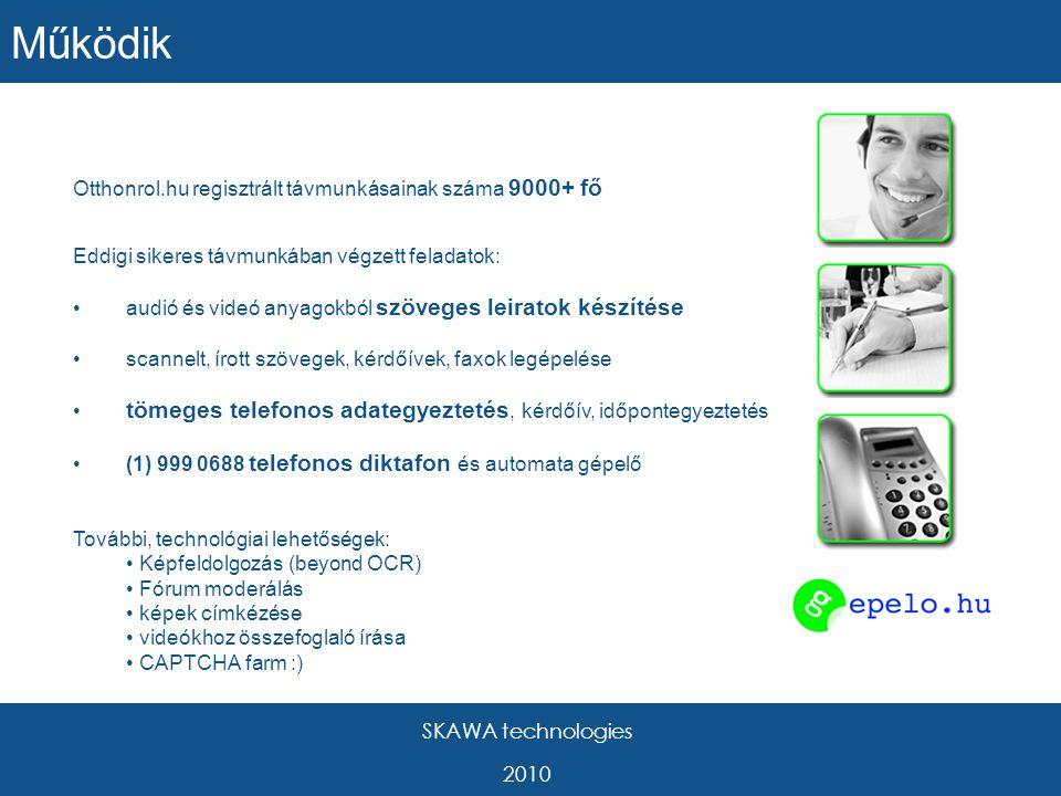 SKAWA technologies 2010 Otthonrol.hu regisztrált távmunkásainak száma 9000+ fő Eddigi sikeres távmunkában végzett feladatok: audió és videó anyagokból szöveges leiratok készítése scannelt, írott szövegek, kérdőívek, faxok legépelése tömeges telefonos adategyeztetés, kérdőív, időpontegyeztetés (1) 999 0688 telefonos diktafon és automata gépelő További, technológiai lehetőségek: Képfeldolgozás (beyond OCR) Fórum moderálás képek címkézése videókhoz összefoglaló írása CAPTCHA farm :) Működik