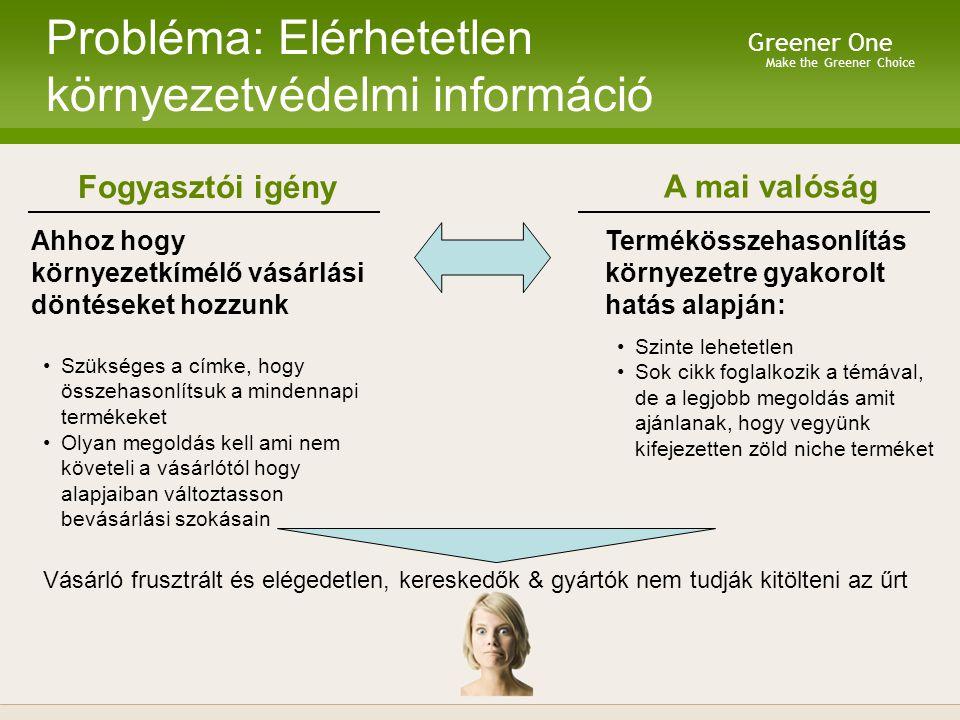 Make the Greener Choice Greener One Probléma: Elérhetetlen környezetvédelmi információ Fogyasztói igény Ahhoz hogy környezetkímélő vásárlási döntéseket hozzunk Szükséges a címke, hogy összehasonlítsuk a mindennapi termékeket Olyan megoldás kell ami nem követeli a vásárlótól hogy alapjaiban változtasson bevásárlási szokásain A mai valóság Termékösszehasonlítás környezetre gyakorolt hatás alapján: Szinte lehetetlen Sok cikk foglalkozik a témával, de a legjobb megoldás amit ajánlanak, hogy vegyünk kifejezetten zöld niche terméket Vásárló frusztrált és elégedetlen, kereskedők & gyártók nem tudják kitölteni az űrt