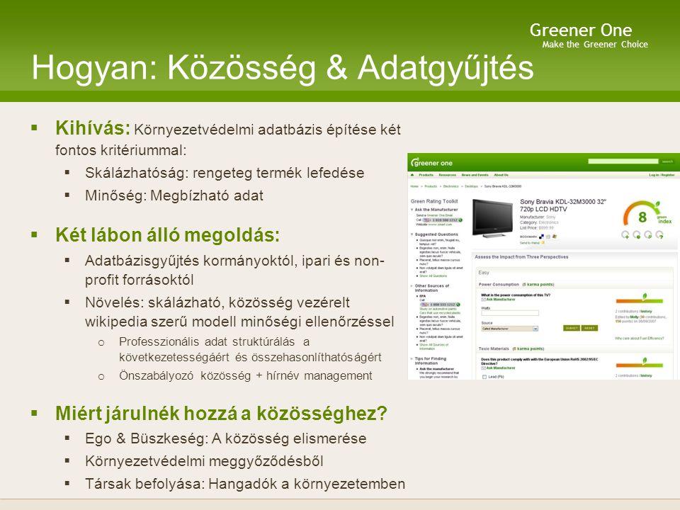 Make the Greener Choice Greener One Hogyan: Közösség & Adatgyűjtés  Kihívás: Környezetvédelmi adatbázis építése két fontos kritériummal:  Skálázhatóság: rengeteg termék lefedése  Minőség: Megbízható adat  Két lábon álló megoldás:  Adatbázisgyűjtés kormányoktól, ipari és non- profit forrásoktól  Növelés: skálázható, közösség vezérelt wikipedia szerű modell minőségi ellenőrzéssel o Professzionális adat struktúrálás a következetességáért és összehasonlíthatóságért o Önszabályozó közösség + hírnév management  Miért járulnék hozzá a közösséghez.