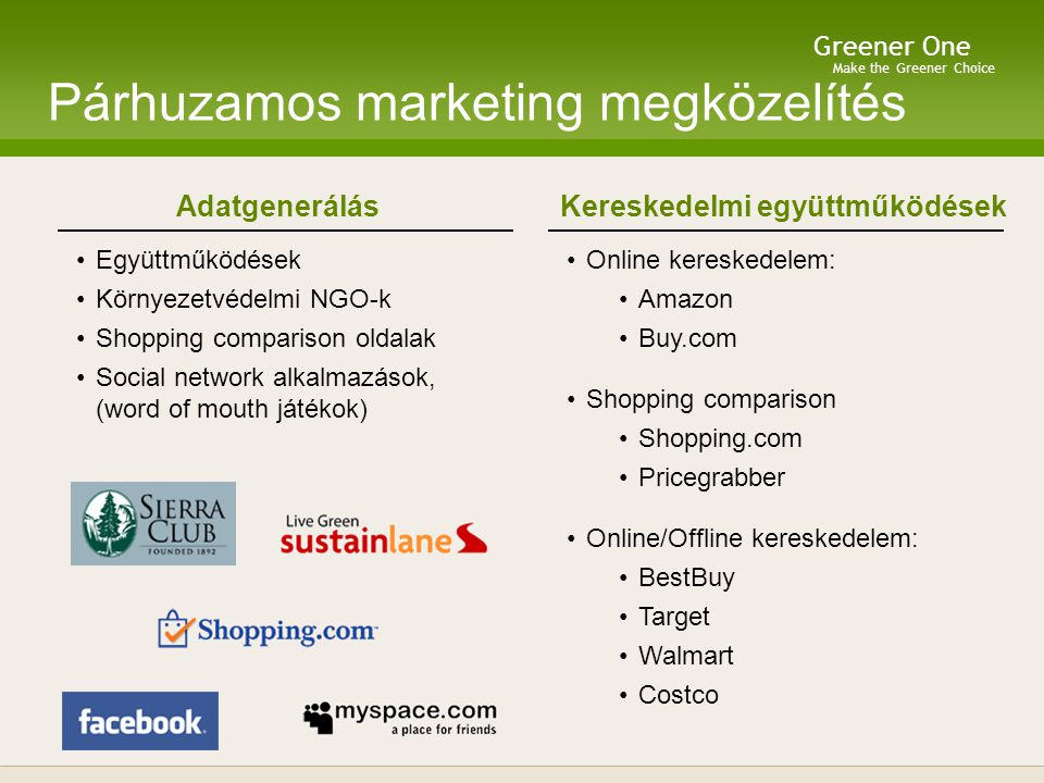 Make the Greener Choice Greener One Skálázható Üzleti Model Másodlagos Üzleti Modell  Licenszelés  Környezetvédelmi adat licenszelés az iparnak  Online közösségi modellek:  Tradicionális: CPM, CPC  Endemic hirdetés: releváns, gyártó által szponzorált tartalom Elsődleges Üzleti Modell  Licenszelés:  Kereskedelem: kihelyezés online és offline kereskedelemben Érték: ügyfélszerzés  Gyártók: közvetlenül a termékre helyezés Érték: zöld pozicionálás, piaci rész növ Mobil (fogyasztó):  Pay-per-lookup (szkennelés)  Előfizetői szolgáltatások (fogyasztó)  Milyen mérgező termékeid vannak?