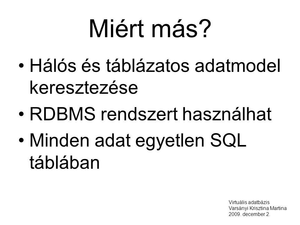 Miért más? Hálós és táblázatos adatmodel keresztezése RDBMS rendszert használhat Minden adat egyetlen SQL táblában Virtuális adatbázis Varsányi Kriszt