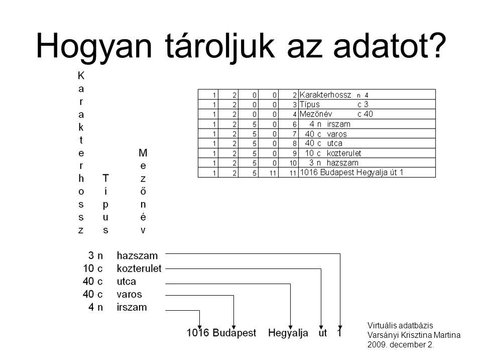 Hogyan tároljuk az adatot Virtuális adatbázis Varsányi Krisztina Martina 2009. december 2.