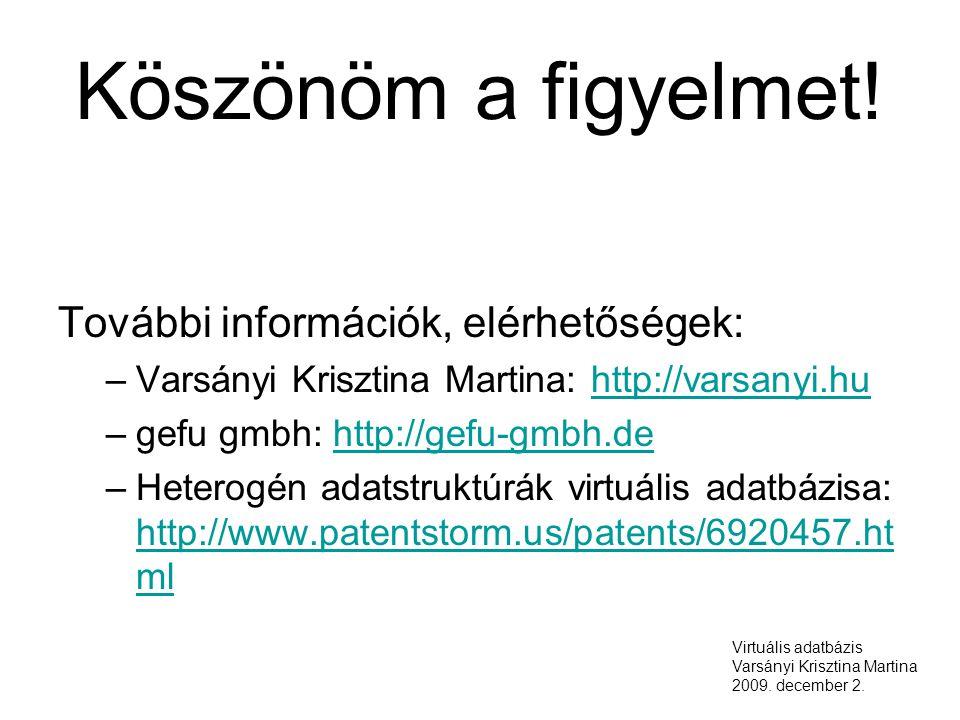 Köszönöm a figyelmet! További információk, elérhetőségek: –Varsányi Krisztina Martina: http://varsanyi.huhttp://varsanyi.hu –gefu gmbh: http://gefu-gm