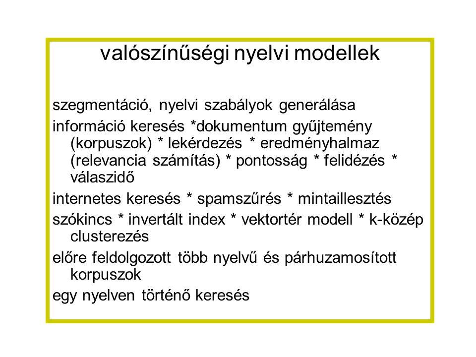 valószínűségi nyelvi modellek szegmentáció, nyelvi szabályok generálása információ keresés *dokumentum gyűjtemény (korpuszok) * lekérdezés * eredményhalmaz (relevancia számítás) * pontosság * felidézés * válaszidő internetes keresés * spamszűrés * mintaillesztés szókincs * invertált index * vektortér modell * k-közép clusterezés előre feldolgozott több nyelvű és párhuzamosított korpuszok egy nyelven történő keresés