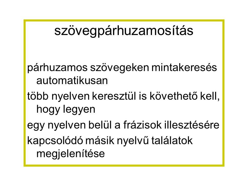 szövegpárhuzamosítás párhuzamos szövegeken mintakeresés automatikusan több nyelven keresztül is követhető kell, hogy legyen egy nyelven belül a frázisok illesztésére kapcsolódó másik nyelvű találatok megjelenítése