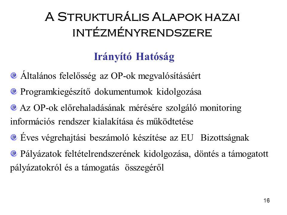 16 Általános felelősség az OP-ok megvalósításáért Programkiegészítő dokumentumok kidolgozása Az OP-ok előrehaladásának mérésére szolgáló monitoring információs rendszer kialakítása és működtetése Éves végrehajtási beszámoló készítése az EU Bizottságnak Pályázatok feltételrendszerének kidolgozása, döntés a támogatott pályázatokról és a támogatás összegéről Irányító Hatóság A Strukturális Alapok hazai intézményrendszere