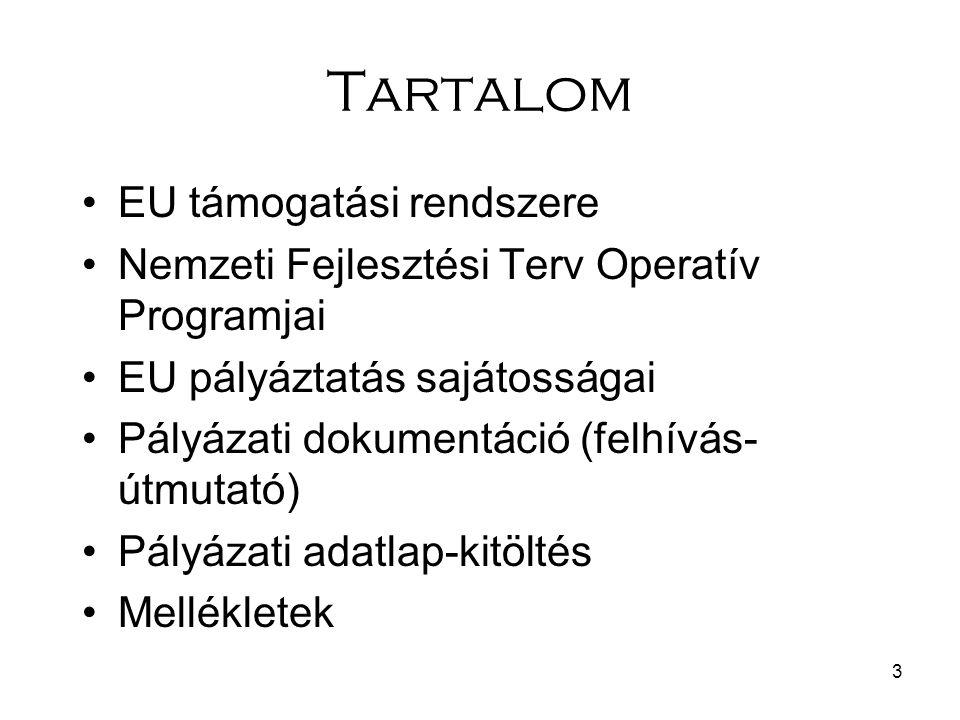 3 Tartalom EU támogatási rendszere Nemzeti Fejlesztési Terv Operatív Programjai EU pályáztatás sajátosságai Pályázati dokumentáció (felhívás- útmutató) Pályázati adatlap-kitöltés Mellékletek