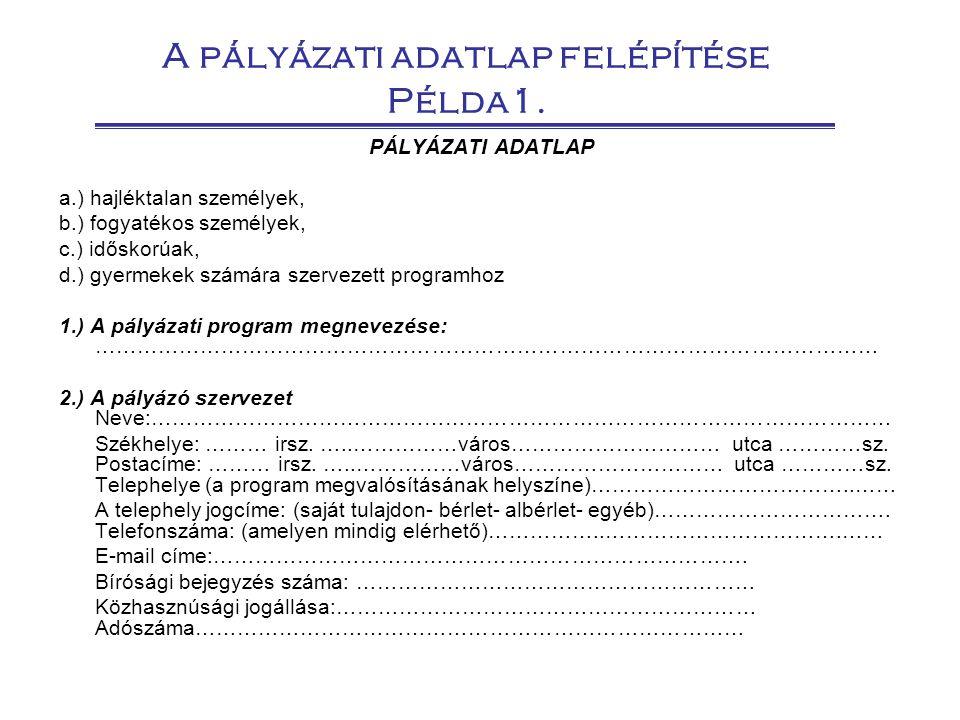 A pályázati adatlap felépítése Példa1. PÁLYÁZATI ADATLAP a.) hajléktalan személyek, b.) fogyatékos személyek, c.) időskorúak, d.) gyermekek számára sz