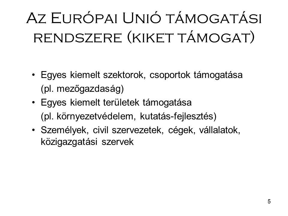5 Az Európai Unió támogatási rendszere (kiket támogat) Egyes kiemelt szektorok, csoportok támogatása (pl.
