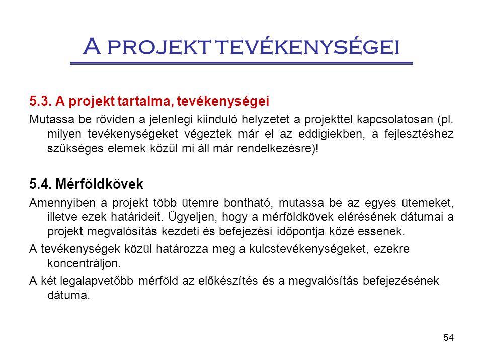 54 A projekt tevékenységei 5.3. A projekt tartalma, tevékenységei Mutassa be röviden a jelenlegi kiinduló helyzetet a projekttel kapcsolatosan (pl. mi
